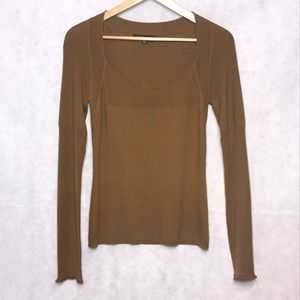 David Meister Green Ribbed Sweater Size Medium